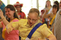 Special needs dancercise, singing and dancing